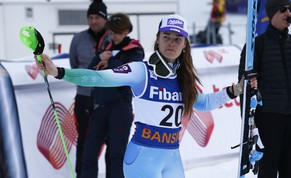 Tina Maze, of Slovenia, celebrates her second place in the finish area at the end of an alpine ski World Cup women's super-combined event, in Bansko, Bulgaria, Sunday, March 1, 2015. (AP Photo/Giovanni Auletta)