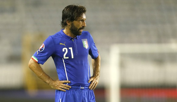 Italy's Andrea Pirlo waits to play during the Euro 2016 Group H qualifying soccer match between Croatia and Italy, in Split, Croatia, Friday, June 12, 2015. (AP Photo/Darko Bandic)