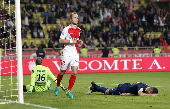 Monaco's Valere Germain celebrates after a scoring goal during a League One soccer match between Monaco and Lille, at the Louis II stadium, in Monaco, Sunday, May, 14 2017. (AP Photo/Claude Paris)