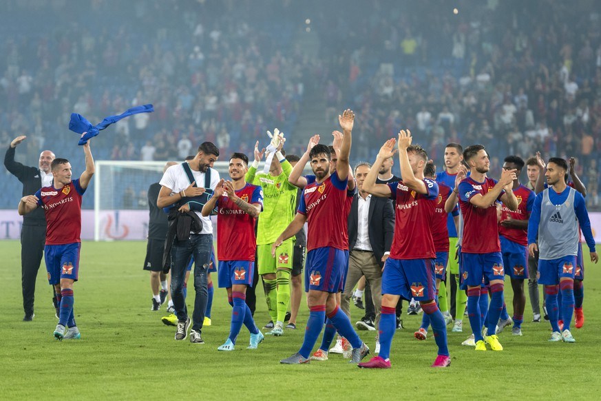 Basel's players cheer after winning the UEFA Champions League second qualifying round second leg match between Switzerland's FC Basel 1893 and Netherland's PSV Eindhoven in the St. Jakob-Park stadium in Basel, Switzerland, on Tuesday, July 30, 2019. (KEYSTONE/Georgios Kefalas)