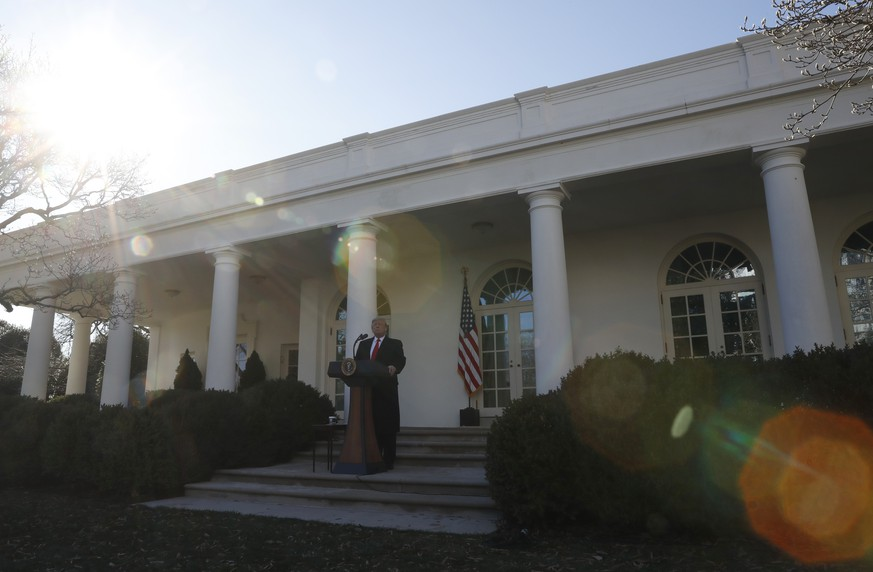 President Donald Trump speaks in the Rose Garden of the White House, Friday, Jan 25, 2019, in Washington. (AP Photo/Jacquelyn Martin)
