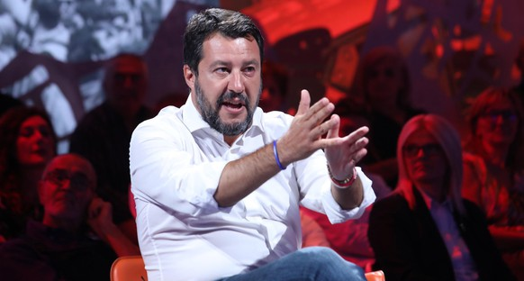 epa07838223 Italian Lega party's Secretary Matteo Salvini attends the Rete4 Italian program 'Dritto e rovescio' conducted by Italian journalist Paolo Del Debbio in Milan, Italy, 12 September 2019.  EPA/MATTEO BAZZI