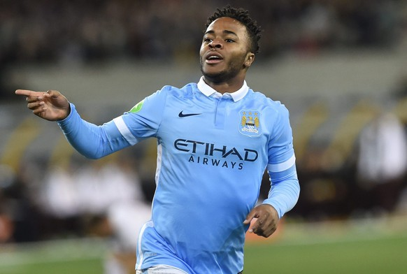 epa04855167 Manchester City player Raheem Stirling reacts after scoring during the International Champions Cup match between AS Roma and Manchester City at the MCG in Melbourne, Australia, 21 July 2015.  EPA/JULIAN SMITH AUSTRALIA AND NEW ZEALAND OUT