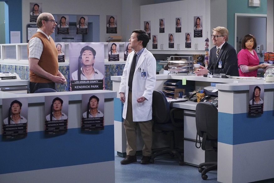 In this image released by ABC, from left, Stephen Tobolowsky, Ken Jeong, Dave Foley and Tisha Campbell-Martin appear in a scene from