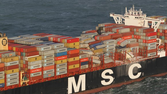 epa07260016 A handout photo made available by the Coast Guard Netherlands shows damage to containers onboard the Panamian-flagged MSC Zoe vessel in the North Sea, off the German and Dutch coast, 02 January 2019 (issued 03 January 2018). Reports state content from the conrtainers has washed up at Netherlands' North Sea islands, while the German Coast Guard on 03 January warned people not to approach any washed up containers because three containers containing hazardous materials are yet to be located.  EPA/NLCG-PHCGN / COAST GUARD NETHERLANDS HANDOUT  HANDOUT EDITORIAL USE ONLY/NO SALES