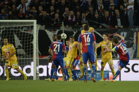 07.05.2014; Basel; Fussball Super League -  FC Basel - FC Luzern; Valentin Stocker (Basel) schiesst das Tor zum 1:0 (Daniela Frutiger/freshfocus)