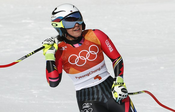 Liechtenstein's Tina Weirather reacts in the finish area after competing in the women's downhill at the 2018 Winter Olympics in Jeongseon, South Korea, Wednesday, Feb. 21, 2018. (AP Photo/Christophe Ena)