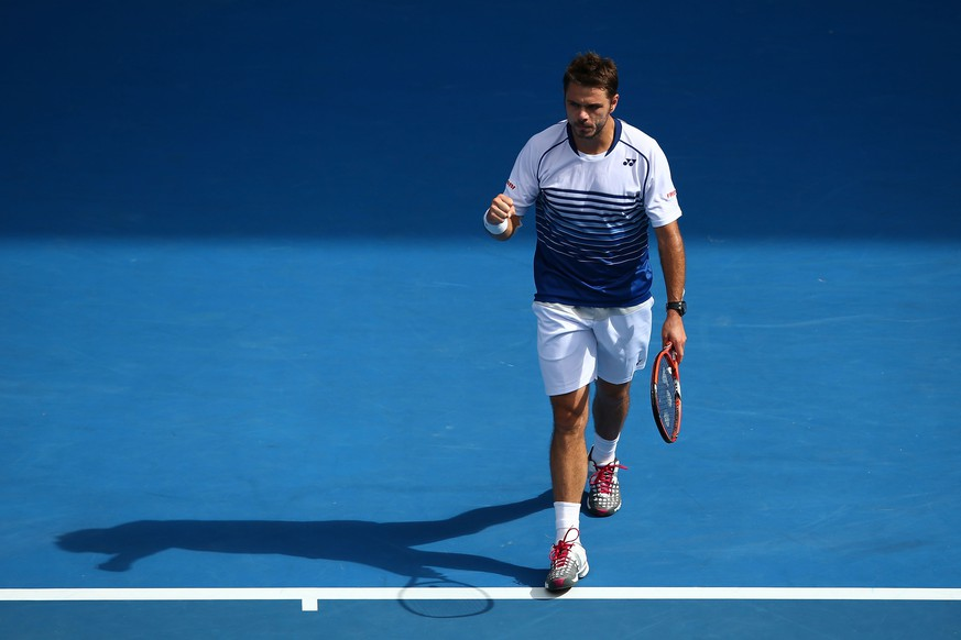 MELBOURNE, AUSTRALIA - JANUARY 26:  Stanislas Wawrinka of Switzerland celebrates winning in his fourth round match against Guillermo Garcia-Lopez of Spain during day eight of the 2015 Australian Open at Melbourne Park on January 26, 2015 in Melbourne, Australia.  (Photo by Mark Kolbe/Getty Images)