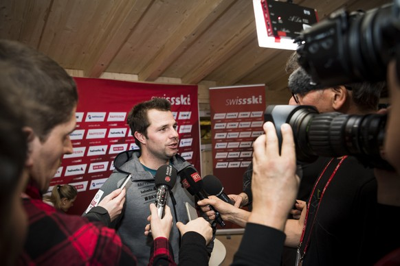 Beat Feuz of Switzerland speaks during a press conference of the Swiss-Ski federation at the 2019 FIS Alpine Skiing World Championships in Are, Sweden Monday, February 4, 2019. (KEYSTONE/Jean-Christophe Bott)