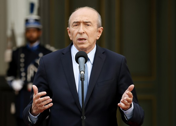 Newly named French Interior Minister Gerard Collomb speaks after the handover ceremony in Paris, Wednesday May, 17, 2017 in Paris. Collomb has been a prominent Socialist politician in France since becoming mayor of Lyon in 2001, France's third biggest city. (AP Photo/Francois Mori)