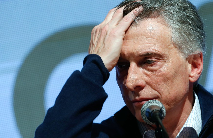 epa07769138 Argentinian President Mauricio Macri of the Juntos por el Cambio party, concedes defeat in the primary elections during an event in Buenos Aires, Argentina, 11 August 2019.  EPA/JUAN IGNACIO RONCORONI