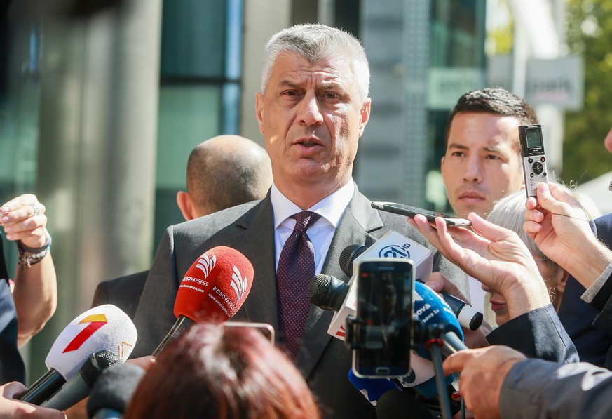 epa07002744 Kosovo's President Hashim Thaci seeks to the press after a meeting with European Union Foreign Policy Chief Federica Mogherini and Serbian President Aleksandar Vucic (not pictured) at EEAS Building in Brussels, Belgium, 07 September 2018.  EPA/STEPHANIE LECOCQ