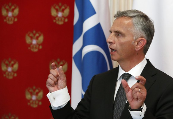 epa04195307 Swiss President and OSCE Chairman Didier Burkhalter speaks during a news conference after a meeting with Russian President Vladimir Putin (not pictured) at the Kremlin in Moscow, Russia, 07 May 2014. Burkhalter, who chairs the Organization for Security and Cooperation (OSCE), was expected to advocate better implementation of the Geneva de-escalation agreement reached last month between Ukraine, Russia, the United States and the European Union, diplomats said.  EPA/SERGEI KARPUKHIN / POOL