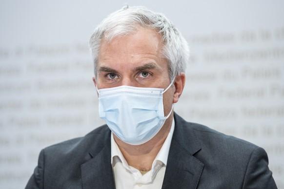 Martin Ackermann, Praesident, National COVID-19 Science Task Force, aeussert sich an einem Point de Presse zur Covid 19 Pandemie, am Dienstag, 26. Januar 2021, in Bern. (KEYSTONE/Peter Schneider)