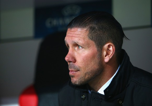 LEVERKUSEN, GERMANY - FEBRUARY 25:  Head Coach Diego Simeone of Atletico Madrid looks on during the UEFA Champions League round of 16 match between Bayer 04 Leverkusen and Club Atletico de Madrid at BayArena on February 25, 2015 in Leverkusen, Germany.  (Photo by Alex Grimm/Bongarts/Getty Images)