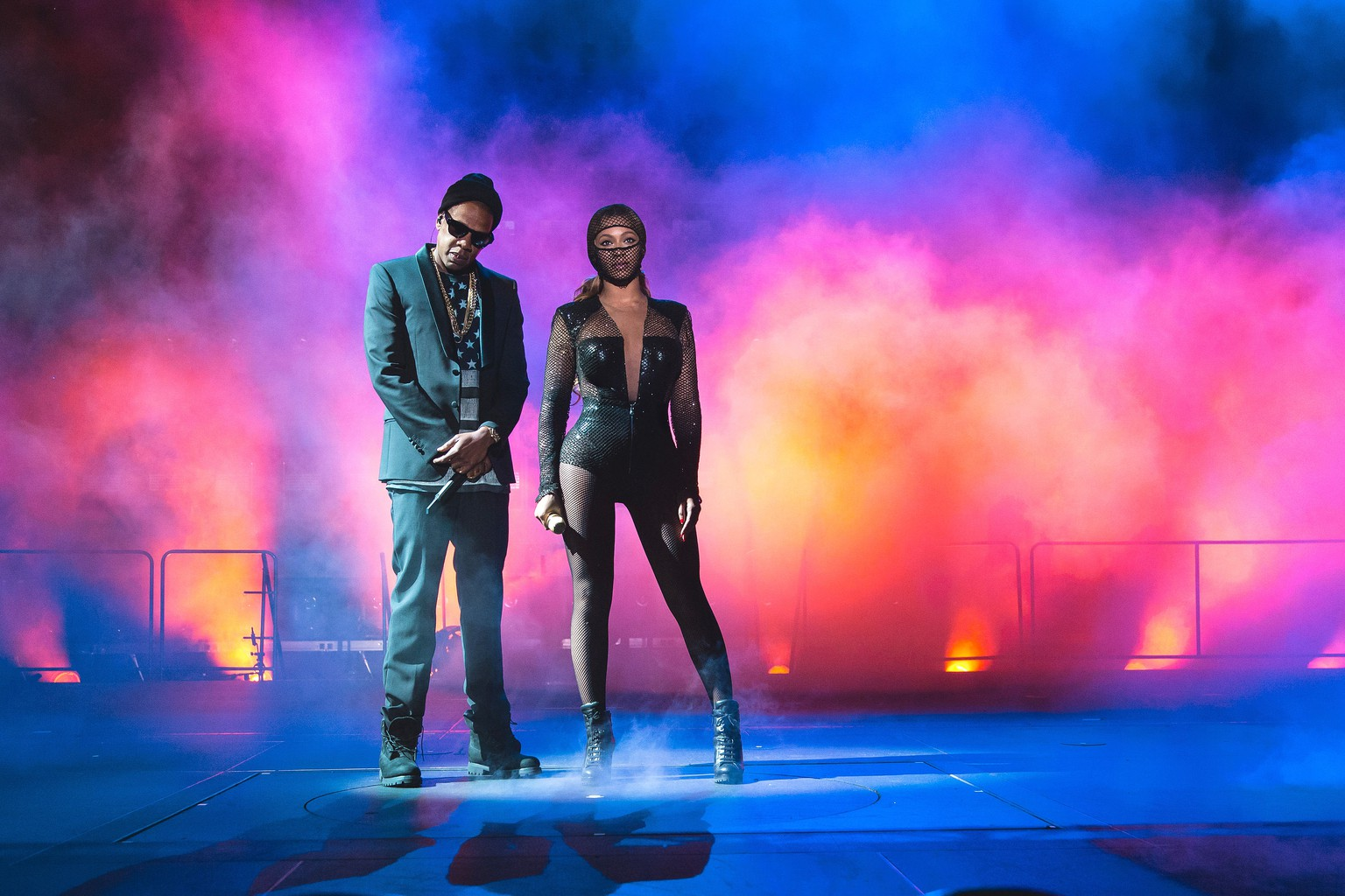 IMAGE DISTRIBUTED FOR PARKWOOD ENTERTAINMENT - JAY Z and Beyonce perform during the On The Run tour at Citizens Bank Park on Saturday, July 5, 2014, in Philadelphia. (Photo by Robin Harper/Invision for Parkwood Entertainment/AP Images)
