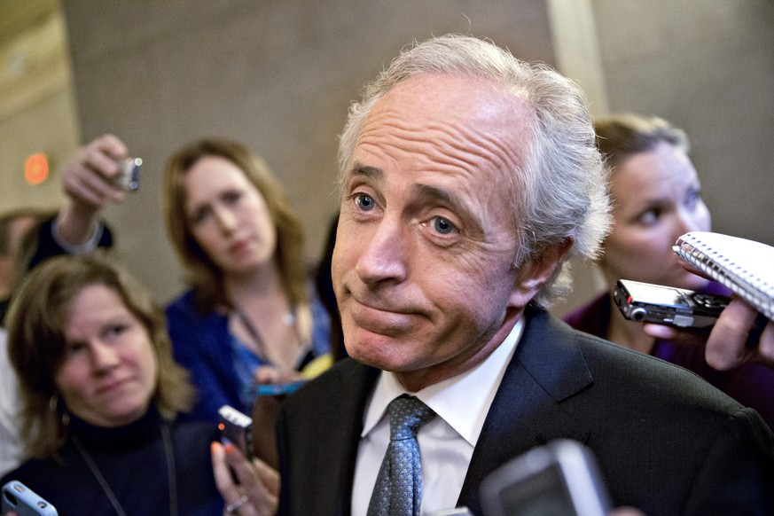 FILE--In this Friday, Oct. 11, 2013 file photo, Sen. Bob Corker, R-Tenn., speaks to reporters on Capitol Hill in Washington about the government stalemate. In a surprise announcement, Tuesday, Sept. 26, 2017, the two-term lawmaker says he will not seek re-election in 2018. (AP Photo/J. Scott Applewhite, file)