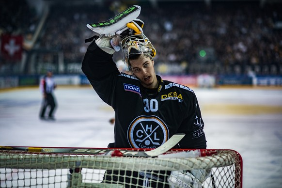 Lugano's goalkeeper Elvis Merzlikins reacts during the first match of the playoff final of the National League between HC Lugano and ZSC Lions, at the ice stadium Resega in Lugano, on Thursday, April 12, 2018. (KEYSTONE/Ti-Press/Samuel Golay)