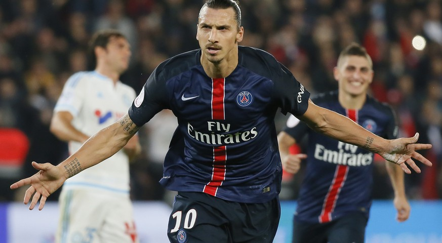 epa05303141 (FILE) A file picture dated 04 October 2015 shows Paris Saint Germain player Zlatan Ibrahimovic celebrates scoring a second penalty kick during the French soccer Ligue 1 match between Paris Saint Germain (PSG) and Olympique Marseille at the Parc des Princes stadium in Paris, France. Ibrahimovic announced via Twitter that he will leave Paris Saint-Germain at the end of this season.  EPA/IAN LANGSDON *** Local Caption *** 52291768