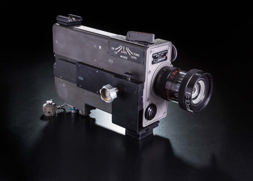 This undated photo provided by National Air and Space Museum, Smithsonian Institution shows a movie camera. More than four decades after the Apollo 11 moon landing, a cloth bag full of souvenirs brought back by astronaut Neil Armstrong has come to light. Among the trove: the camera from inside the lunar module that filmed its descent to the moon and Armstrong's first steps on the lunar surface in 1969. The discovery was announced Friday, Feb. 6, 2015, by the museum, which is already displaying the camera in a temporary exhibit. (AP Photo/National Air and Space Museum, Smithsonian Institution)