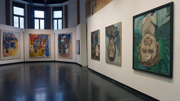epa07546482 Works by German artist Georg Baselitz are on display during the setting up of his exhibition 'Baselitz - Academy', a collateral event of the 58th International Art Exhibition of La Biennale di Venezia, at the Gallerie dell'Accademia in Venice, Italy, 04 May 2019. The exhibition will run from 08 May to 08 September.  EPA/ANDREA MEROLA