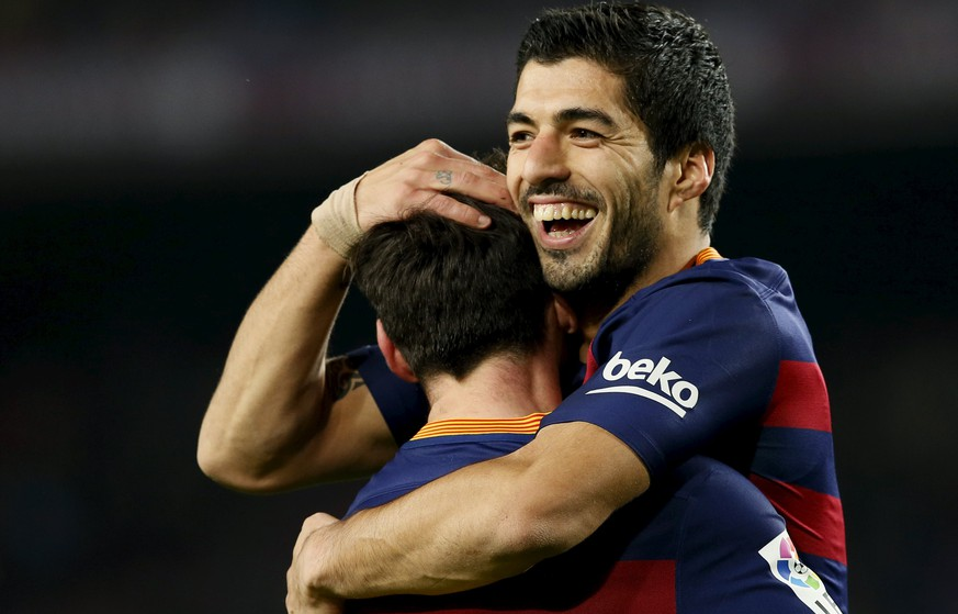Football Soccer - Barcelona v Valencia- Spanish King's Cup semifinal - Camp Nou stadium, Barcelona - 3/2/16Barcelona's Luis Suarez and Lionel Messi celebrate a goal against Valencia.  REUTERS/Albert Gea