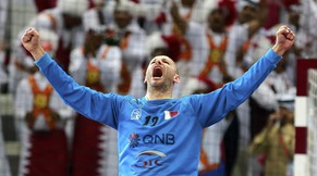Qatar's goalkeeper Danjel Saric celebrates defeating Germany during their quarterfinal match of the 24th Men's Handball World Championship in Doha January 28, 2015.       REUTERS/Mohammed Dabbous (QATAR  - Tags: SPORT HANDBALL)