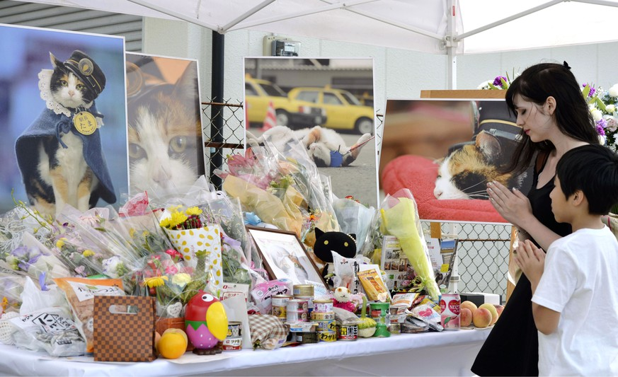 People pray in front of an altar especially set up for a funeral of Tama, a cat stationmaster, in Kinokawa City, Wakayama Prefecture, western Japan, Sunday, June 28, 2015. Tama the stationmaster, Japan's feline star of a struggling local railway, was mourned by company officials and fans and elevated into a goddess Sunday. Tama, sitting at the ticket gate welcoming and seeing off passengers, quickly attracted tourists and became world-famous, contributing to the railway company and local economy. Tama died of a heart failure on June 22. (Chika Oshima/Kyodo News via AP) JAPAN OUT, MANDATORY CREDIT