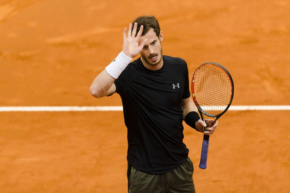 Britain's Andy Murray celebrates after winning his Madrid Open tennis tournament match against Marcel Granollers from Spain in Madrid, Spain, Thursday, May 7, 2015. (AP Photo/Daniel Ochoa de Olza)