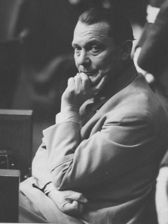 Defendant Hermann Goering in the prisoners' dock at the International Military Tribunal trial of war criminals at Nuremberg. Goering was the former head of the Luftwaffe and was at one time second in command to Hitler. Göring.
