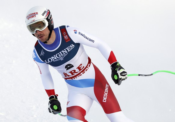 epa07361649 Carlo Janka of Switzerland reacts in the finish area during the Men's Alpine Combined Downhill race at the FIS Alpine Skiing World Championships in Are, Sweden, 11 February 2019.  EPA/VALDRIN XHEMAJ