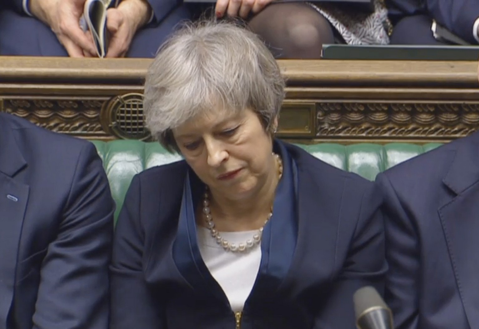 epa07287677 A handout video-grabbed still image from a video made available by UK parliament's parliamentary recording unit showing British  Prime Minister Theresa May after the result of the Brexit vote was announced at the parliament late 15 January 2018, London, United Kingdom. A great majority voted against Prime Minister Theresa May's deal of UK leaving the European Union. The legally-binding Withdrawal Agreement sets up a 'transition or implementation period' that runs until the end of 2020 after Brexit. The United Kingdom, that on 01 January 1973 joined EEC or European Communities, predecessor of European Union, has been a EU member state for 46 years.  EPA/PARLIAMENTARY RECORDING UNIT HANDOUT MANDATORY CREDIT: PARLIAMENTARY RECORDING UNIT HANDOUT EDITORIAL USE ONLY/NO SALES