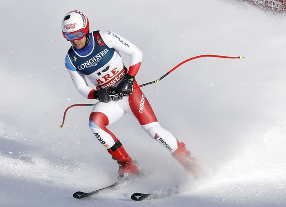epa07361871 Mauro Caviezel of Switzerland reacts in the finish area during the Men's Alpine Combined Downhill race at the FIS Alpine Skiing World Championships in Are, Sweden, 11 February 2019.  EPA/VALDRIN XHEMAJ