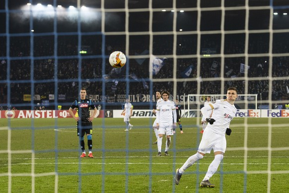 Zurich's Benjamin Kololli on his way to the 1:3 goal during the UEFA Europa League group stage soccer match between Switzerland's FC Zurich and Italian's SSC Neapel at the Letzigrund stadium in Zurich, Switzerland, on Thursday, February 14, 2019. (KEYSTONE/Ennio Leanza)