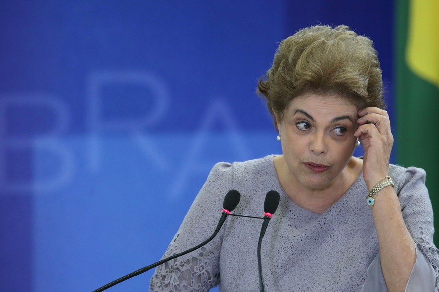 Brazil's President Dilma Rousseff speaks during a meeting of pro-government lawyers at the Planalto Presidential palace, in Brasilia, Brazil, Tuesday, March 22, 2016. Brazilian Supreme Court justice Rosa Weber, denied a request by lawyers to overturn a decision last week that blocked former Brazilian President Luiz Inacio Lula da Silva from becoming chief of staff to President Rousseff. Lula da Silva in has been tied to a sprawling corruption investigation involving Petrobras, the Brazilian national oil company. (AP Photo/Eraldo Peres)