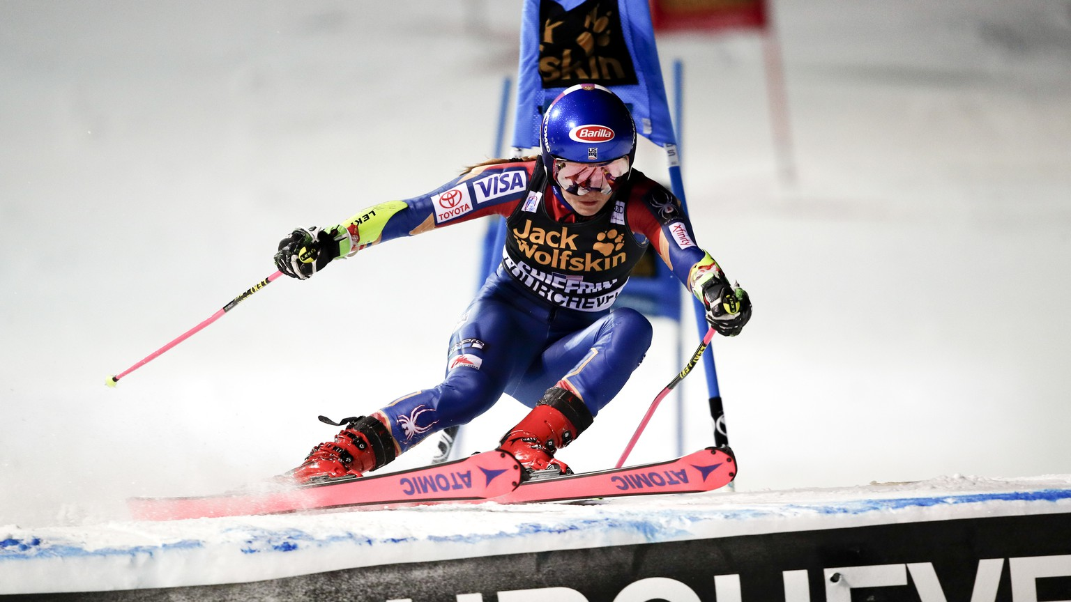 United States' Mikaela Shiffrin competes during an alpine ski, women's World Cup parallel slalom in Courchevel, France, Wednesday, Dec. 20, 2017. (AP Photo/Gabriele Facciotti)