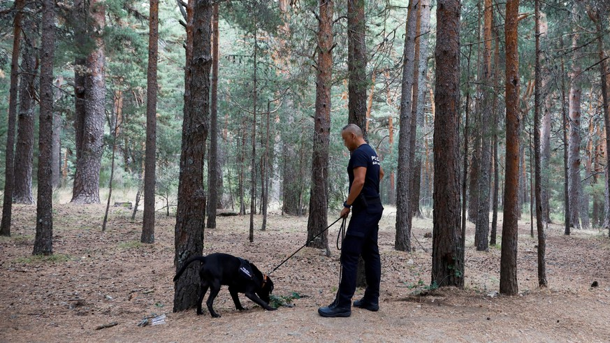 epa07810424 Members of the Spanish National Police search for Spanish Olympic medalist Blanca Fernandez Ochoa after her car was found nearby in Cercedilla, Madrid, Spain, 01 September 2019. The police has found the vehicle of the former Alpine skier and the first Spanish woman to win a medal at the Winter Olympics, who has been missing since 23 August, after leaving her home in Aravaca, Madrid. According to her family, Blanca left her mobile phone at home when she left saying she was going on a four day trip to practice hiking. Suspicious about her mother leaving her cell phone at home, her daughter reported her disappearance on the same day she left.  EPA/DAVID FERNANDEZ