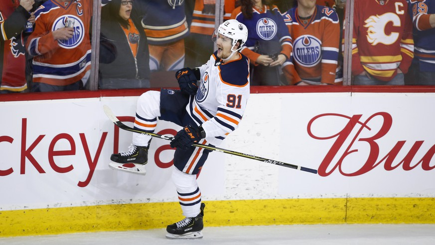 Edmonton Oilers' Gaetan Haas celebrates his penalty-shot goal against the Calgary Flames during the third period of an NHL hockey game Saturday, Feb. 1, 2020, in Calgary, Alberta. (Jeff McIntosh/The Canadian Press via AP)
