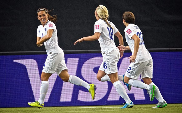 epa04805541 England's Fara Williams (L) celebrates her goal with teammates Toni Duggan (C) and Fran Kirby during the FIFA Women's World Cup 2015 Group F match between England and Colombia in the Olympic Stadium in Montreal, Canada, 17 June 2015  EPA/ANDRE PICHETTE EDITORIAL USE ONLY, NOT USED IN ASSOCIATION WITH ANY COMMERCIAL ENTITY - IMAGES MUST NOT BE USED IN ANY FORM OF ALERT OR PUSH SERVICE OF ANY KIND INCLUDING VIA MOBILE ALERT SERVICES, DOWNLOADS TO MOBILE DEVICES OR MMS MESSAGING