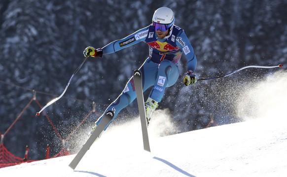 Norway's Kjetil Jansrud speeds down the course during an alpine ski, men's World Cup downhill, in Kitzbuehel, Austria, Saturday, Jan. 21, 2017. (AP Photo/Alessandro Trovati)