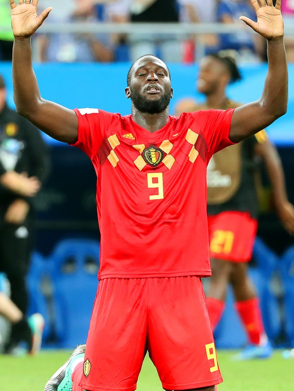 epa06859523 Romelu Lukaku of Belgium reacts after the FIFA World Cup 2018 round of 16 soccer match between Belgium and Japan in Rostov-On-Don, Russia, 02 July 2018. Belgium won 3-2.(RESTRICTIONS APPLY: Editorial Use Only, not used in association with any commercial entity - Images must not be used in any form of alert service or push service of any kind including via mobile alert services, downloads to mobile devices or MMS messaging - Images must appear as still images and must not emulate match action video footage - No alteration is made to, and no text or image is superimposed over, any published image which: (a) intentionally obscures or removes a sponsor identification image; or (b) adds or overlays the commercial identification of any third party which is not officially associated with the FIFA World Cup)  EPA/KHALED ELFIQI   EDITORIAL USE ONLY