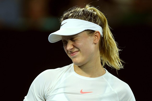 epa05732632 Eugenie Bouchard of Canada reacts against Coco Vandeweghe of the USA during round three of the Women's Singles at the Australian Open Grand Slam tennis tournament in Melbourne, Victoria, Australia, 20 January 2017.  EPA/LUKAS COCH  AUSTRALIA AND NEW ZEALAND OUT