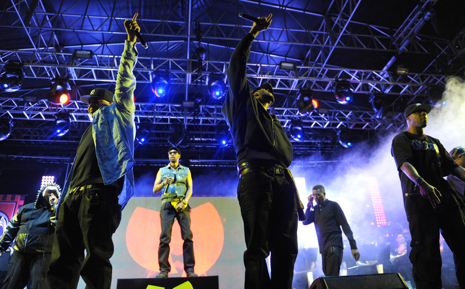 Members of the Wu-Tang Clan perform at the second weekend of the 2013 Coachella Valley Music and Arts Festival at the Empire Polo Club on Sunday, April 21, 2013 in Indio, Calif. . (Photo by John Shearer/Invision/AP)