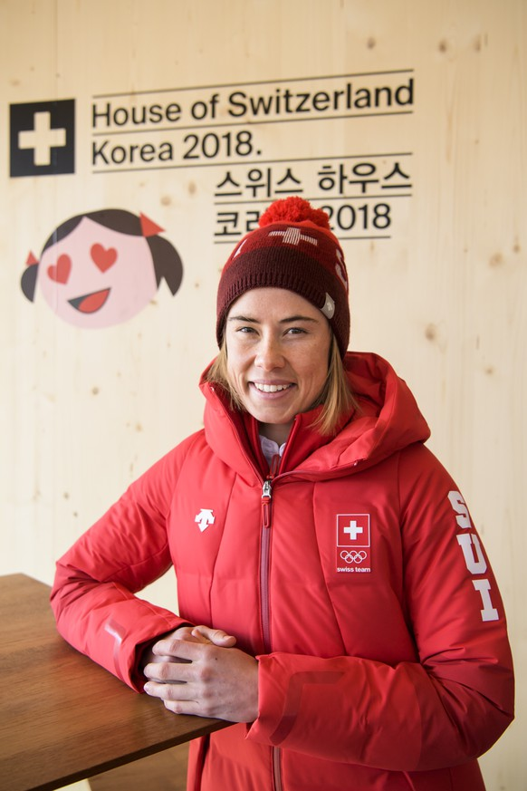 Laurien Van der Graaff, Cross Country Skier of Switzwrland, poses during a media conference of the Swiss Cross Country Skiing team in the House of Switzerland one day prior to the opening of the XXIII Winter Olympics 2018 in Pyeongchang, South Korea, on Thursday, February 08, 2018. (KEYSTONE/Jean-Christophe Bott)