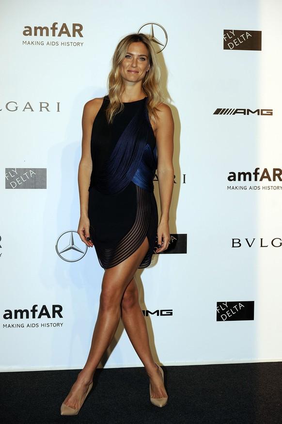 Model Bar Rafaeli arrives for the amfAR charity dinner during the fashion week in Milan, Italy, Saturday, Sept. 20, 2014. (AP Photo/Giuseppe Aresu)