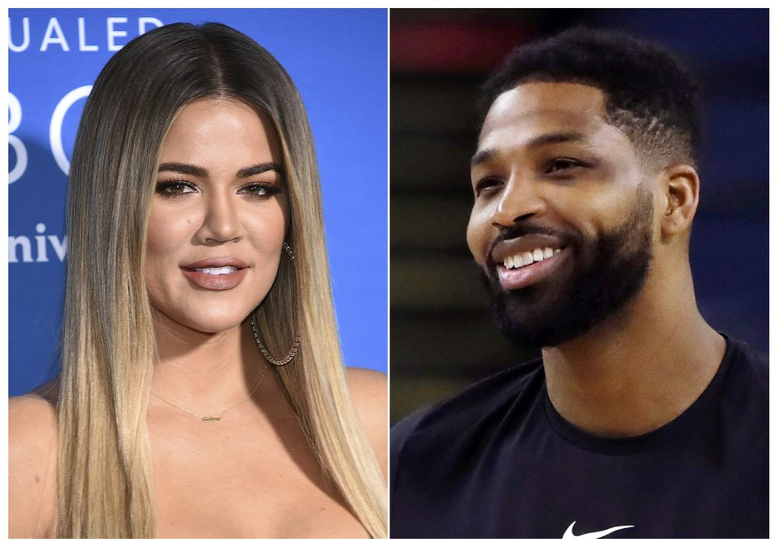This combination photo shows TV personality Khloe Kardashian at the NBCUniversal Network 2017 Upfront in New York on May 15, 2017, left, and Cleveland Cavaliers' Tristan Thompson during an NBA basketball practice in Oakland, Calif., on May 30, 2018. Kardashian and Thompson have a nearly one-year-old daughter named True. (AP Photo)