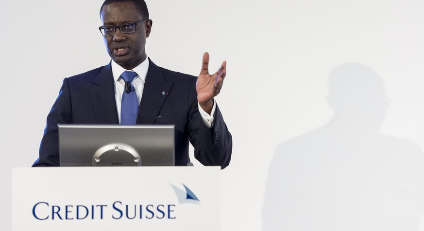 epa05228441 (FILE) A file photograph showing Tidjane Thiam, CEO of Swiss bank Credit Suisse, who speaks during a press conference in Zurich, Switzerland, 04 February 2016. According to the Swiss bank's annual report published on 24 March 2016, Credit Suisse CEO Tidjane Thiam received 18.9 million Swiss francs or 19.37 million US dollars in 2015.  EPA/ENNIO LEANZA