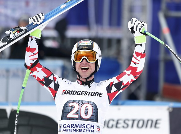 Hannes Reichelt of Austria reacts in the finish area after his run during the men's Alpine Skiing World Cup downhill race in Garmisch-Partenkirchen February 28, 2015.         REUTERS/Michaela Rehle (GERMANY  - Tags: SPORT SKIING)