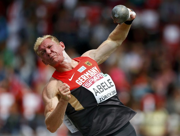 Arthur Abele of Germany competes in the men's shot put decathlon during the European Althletics Championships at the Letzigrund Stadium in Zurich August 12, 2014. REUTERS/Phil Noble (SWITZERLAND  - Tags: SPORT ATHLETICS)