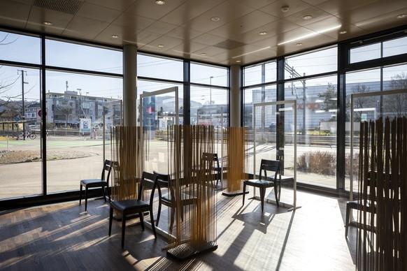 Blick in das Impfzentrum im Hotel Holiday Inn Express in Affoltern am Albis am Mittwoch, 31. Maerz 2021. (KEYSTONE/Alexandra Wey)
